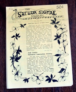 Cover page of one of the earliest Saluda Signal newspapers - March/April 1989